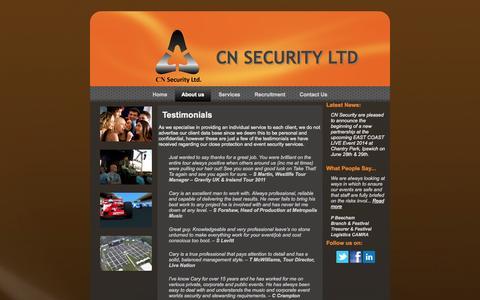 Screenshot of Testimonials Page cnsecurity.co.uk - Testimonials | CN SECURITY LTD - captured Oct. 1, 2014