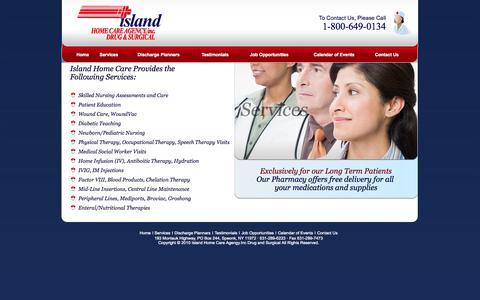 Screenshot of Services Page islandhomecare.com - Island Home Care Agency - captured Oct. 6, 2014