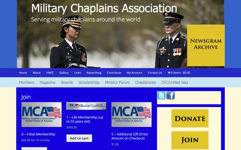 Screenshot of Signup Page mca-usa.org - Join - captured April 21, 2017