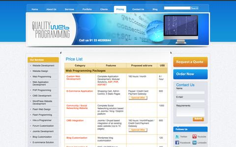 Screenshot of Pricing Page quality-web-programming.com - Pricelist of Website Design and Development Services - captured Sept. 30, 2014