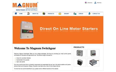 Screenshot of Home Page magnumswitchgear.com - Submersible Pump Panels | MCH Contactor | 2 Pole Contactor | India - captured June 16, 2015