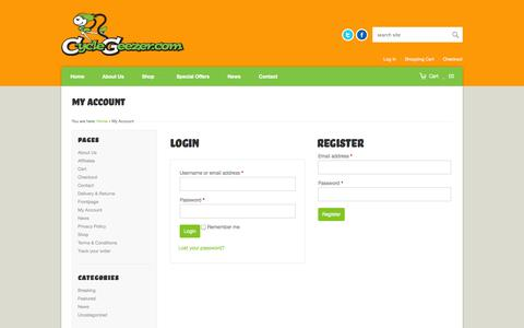 Screenshot of Login Page cyclegeezer.com - My Account - Great Gifts for Cyclists - captured Oct. 23, 2014