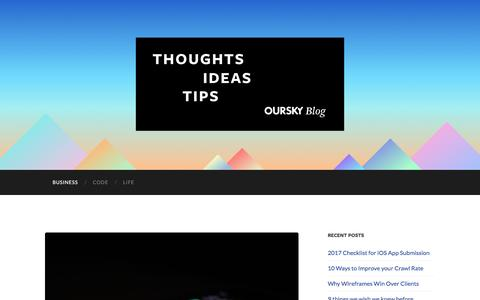 Screenshot of Blog oursky.com - Oursky Blog - Thoughts on Startups, App Development, and Software Consulting Business - captured June 22, 2017