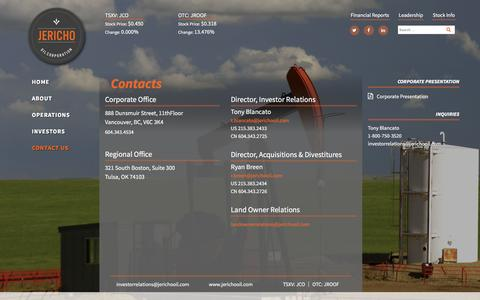 Screenshot of Contact Page jerichooil.com - Contact Us – Jericho Oil Corporation – TSX.V JCO / OTCQX:JROOF – Consistent, Predictable, High Margin Oil Production - captured Feb. 11, 2016