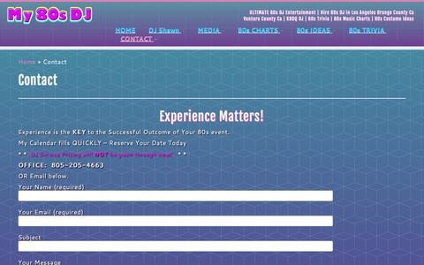 Screenshot of Contact Page my80sdj.com - 80s DJ Booking - captured Nov. 2, 2017