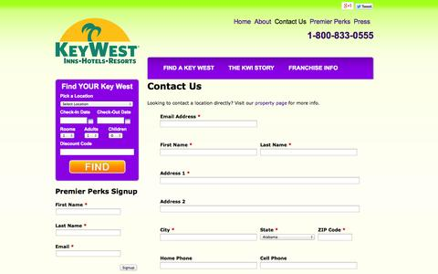 Screenshot of Contact Page staykeywesthotels.com - Contact Us | Key West Inns Hotels & Resorts - captured Oct. 6, 2014