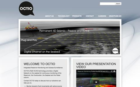 Screenshot of Home Page octio.com - Octio | Integrated Reservoir Monitoring and Subsea Surveillance - captured Oct. 7, 2014