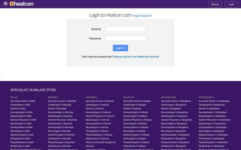 Screenshot of Login Page healcon.com - Login - Healcon.com - captured Nov. 4, 2018