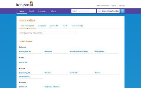 Screenshot of Locations Page livingsocial.com - More Cities - LivingSocial - captured Sept. 13, 2014