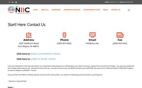 Screenshot of Contact Page niic.net - Start! Here:  Contact Us | Northeast Indiana Innovation Center - captured Nov. 30, 2016