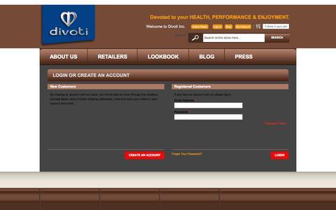 Screenshot of Login Page divotiusa.com - Customer Login - captured Oct. 5, 2014