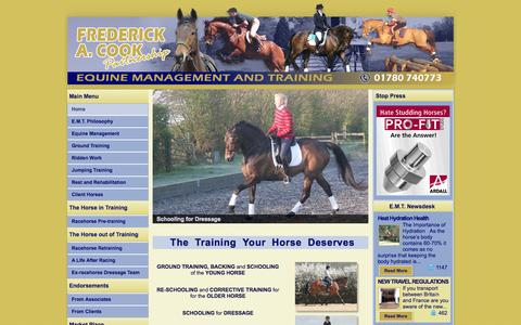 Screenshot of Home Page equinetraining.co.uk - Equine Management and Training - captured Oct. 10, 2014