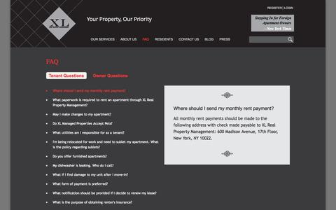 Screenshot of FAQ Page xl-rpm.com - FAQ | XL Real Property Management - captured Oct. 4, 2014