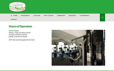 Screenshot of Hours Page greenatchevychase.com - Hours of Operation - Green at Chevy Chase Apartments - captured Oct. 25, 2018