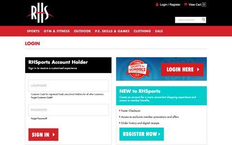 Screenshot of Login Page rhsports.com.au - RHSports - captured Oct. 19, 2018