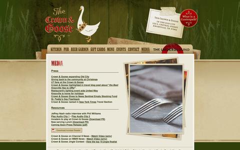 Screenshot of Press Page thecrownandgoose.com - The Crown & Goose: Media - captured Oct. 26, 2014