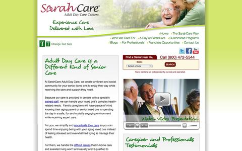 Screenshot of Home Page Privacy Page Site Map Page Terms Page sarahcare.com - Adult Day Care | SarahCare Adult Day Care Center Services - captured Oct. 3, 2014