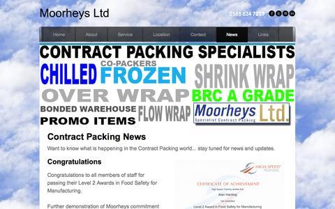 Screenshot of Press Page moorheys.co.uk - MOORHEYS   News   Contract Packing Solutions - Moorheys Ltd - captured Oct. 26, 2014