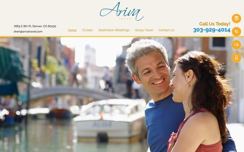 Screenshot of Home Page arivatravel.com - Vacation Packages & Travel Agency - Denver, CO - Ariva Travel - captured May 30, 2017