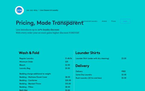 Screenshot of Pricing Page lioxcleaners.com - Pricing for laundry and dry cleaning - captured Nov. 5, 2018