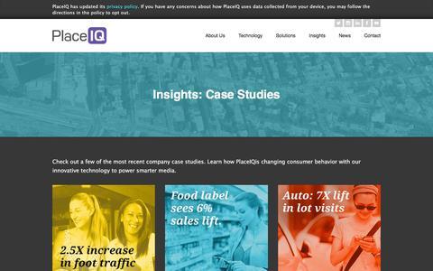 Screenshot of Case Studies Page placeiq.com - Insights: Case Studies | PlaceIQ - captured Dec. 4, 2015