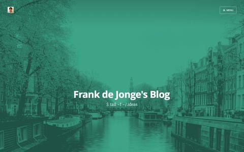 Screenshot of Blog frankdejonge.nl - Frank de Jonge's Blog - captured Feb. 10, 2016