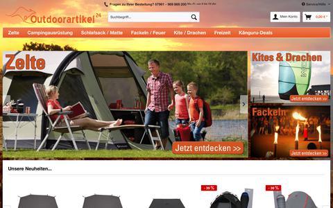 Screenshot of Home Page outdoorartikel24.de - Campingshop Outdoorartikel24.de   Outdoor, Camping, Kite & Fackeln Versand   Outdoorartikel24 - captured Sept. 23, 2018
