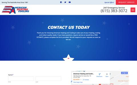 Screenshot of Contact Page americanheatingandcooling.com - Contact | American Heating And Cooling | Nashville, TN - captured Nov. 12, 2018