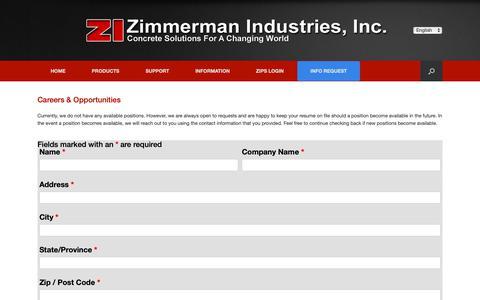 Screenshot of Jobs Page zimmermanindustries.com - Careers & Opportunities - Zimmerman Industries, Inc. - captured Oct. 18, 2018