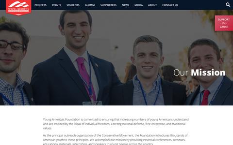 Screenshot of About Page yaf.org - About - Our Mission   Young America's Foundation - captured Oct. 18, 2018
