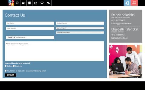 Screenshot of Contact Page globalmediainsight.com - Contact Us - Global Media Insight Digital Interactive Agency - Dubai, UAE - captured Oct. 1, 2015