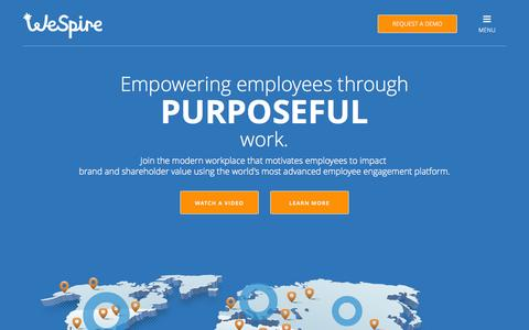 Screenshot of Home Page wespire.com - WeSpire | Employee Engagement Platform Powered by Behavioral Science - captured Aug. 11, 2015