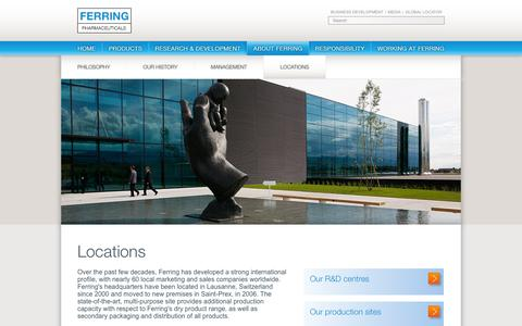 Screenshot of Locations Page ferring.com - Locations - Ferring Corporate Website - captured Sept. 22, 2014