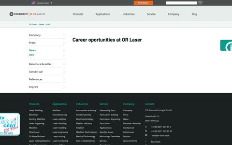 Screenshot of Jobs Page or-laser.com - Careers at - OR Laser - captured Aug. 21, 2019