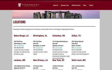 Screenshot of Locations Page stonehengecapital.com - Locations   Stonehenge Capital - captured Aug. 17, 2016