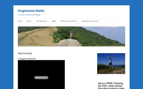 Screenshot of Testimonials Page forgivenesswalks.com - Testimonials   Forgiveness Walks - captured Nov. 3, 2014