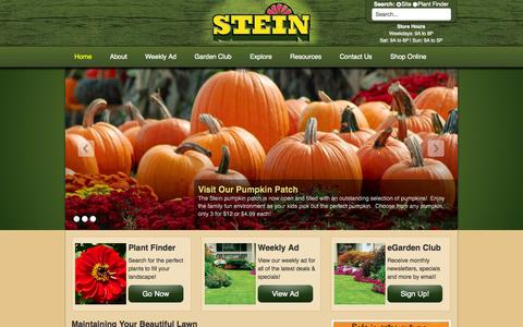 Screenshot of Home Page steingg.com - Your Seasonal Authority - Stein Gardens & Gifts - captured Sept. 23, 2014