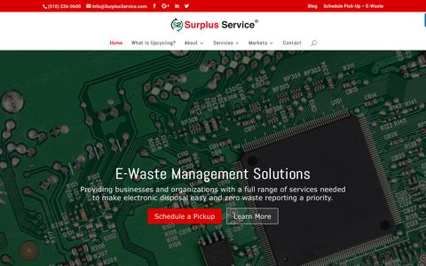 Screenshot of Home Page surplusservice.com - Surplus Service - E-Waste Management Solutions for Businesses & Organizations - captured Oct. 8, 2017