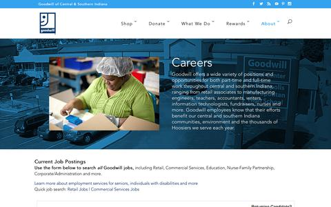 Screenshot of Jobs Page goodwillindy.org - Careers - Goodwill Indy - captured June 30, 2017