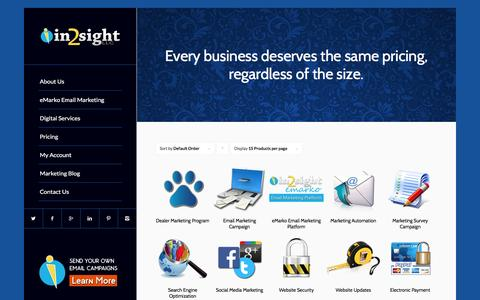 Screenshot of Pricing Page in2sight.net - In2sight LLC |   Products - captured Feb. 10, 2016