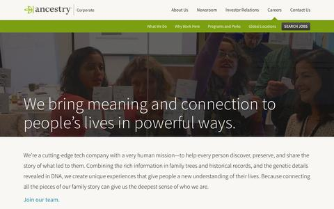 Screenshot of Jobs Page ancestry.com - What We Do | Ancestry Corporate - captured Sept. 16, 2016