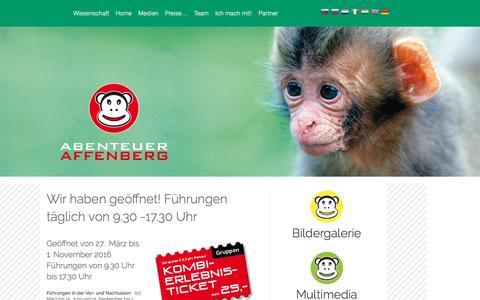 Screenshot of Home Page affenberg.com - Abenteuer Affenberg - Landskron – Ein Erlebnis für die ganze Familie - captured June 8, 2016
