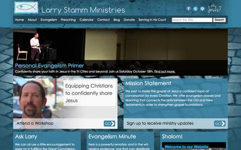 Screenshot of Home Page larrystamm.org - Larry Stamm Ministries - captured Oct. 1, 2014