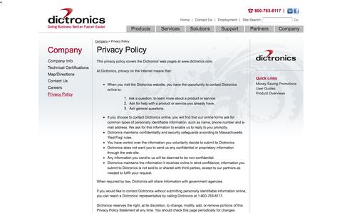 Screenshot of Privacy Page dictronics.com - Dictronics - Dictronics Experienced Integrators for VoIP, Unified Communications, Copiers and Printing - captured Sept. 30, 2014