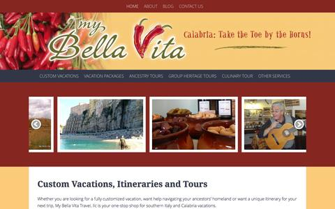 Screenshot of Home Page mybellavita.com - My Bella Vita Travel, LLC: Ancestry Tours | Boutique Group Tours | Custom Vacations - captured Oct. 7, 2014