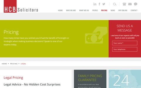 Screenshot of Pricing Page hcbgroup.com - Legal Pricing- Solicitors UK, Solihull, Bedford, Walsall, Wigan, Leigh, Redditch - captured Sept. 25, 2018