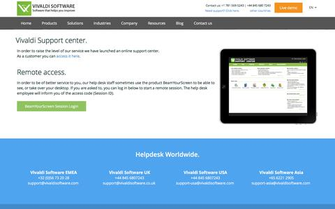 Screenshot of Support Page vivaldisoftware.com - Do you need help with Vivaldi QMS? Contact our helpdesk now. - captured Aug. 14, 2016