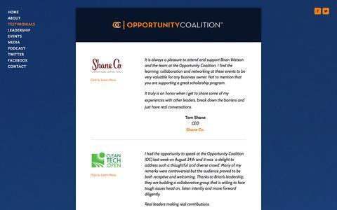 Screenshot of Testimonials Page opportunitycoalition.com - TESTIMONIALS — OPPORTUNITY COALITION™ - captured Oct. 7, 2014