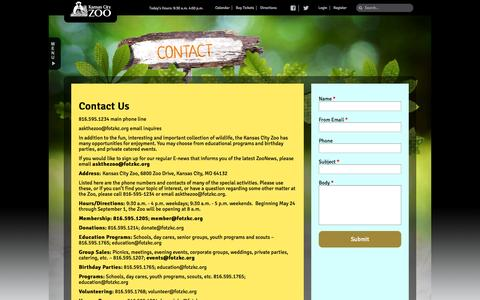 Screenshot of Contact Page kansascityzoo.org - Contact Us | Kansas City Zoo - captured Sept. 19, 2014