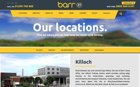 Screenshot of Locations Page barr.co.uk - Barr | Quarries | Surfacing & Civil Engineering | - captured Nov. 5, 2018